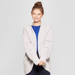 Pointelle Chenille Cocoon Cardigan Sweater